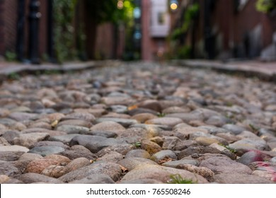Narrow Cobble Stone Walkway through historic Boston neighborhood