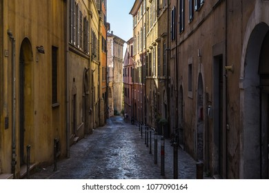 A narrow cobbled street in the historic center of Ancona. Ancona, Marche, Italy, August 2017