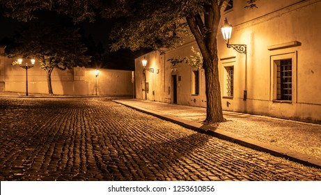 Narrow cobbled street in old medieval town with illuminated houses by vintage street lamps, Novy svet, Prague, Czech Republic. Night shot.