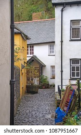 Narrow cobbled street i the small village Clovelly in the district of Devon, England