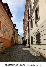 Narrow cobbled streets in the historic center of Old Town in Rzeszow.