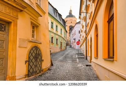 Narrow cobblestone street leading to the Chapel of St John Sarkander in the old town of Olomouc