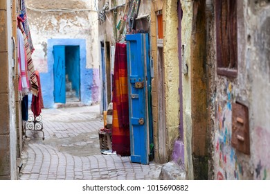 Narrow colorful street in the old medina of Essaouira in Morocco