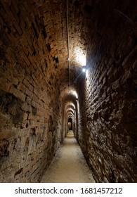 Narrow corridor in the Lutsk dungeon in Ukraine