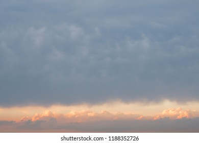 Narrow corridor in the sky for flights. Cloudscape. Copy space, Lorem ipsum