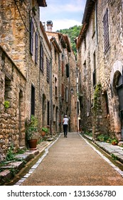 Narrow cozy streets of medieval picturesque town of Villefranche-de-Conflent, Occitanie, in the Pyrénées-Orientales department in southern France