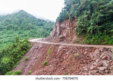 Narrow dangerous road in Yungas mountains, Bolivia