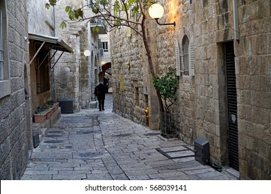Narrow, dark lanes of the Jewish Quarter of the Old City of Jerusalem