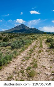 A narrow dirt road and trail head through the sagebrush and juniper trees of the Utah West Desert. In the distance is a small mountain with white, whispy clouds in the sky.