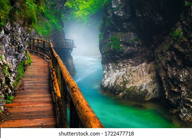 Narrow foggy Vintgar gorge with wooden footbridge after summer rain. Great hiking and touristic place, Slovenia, Europe