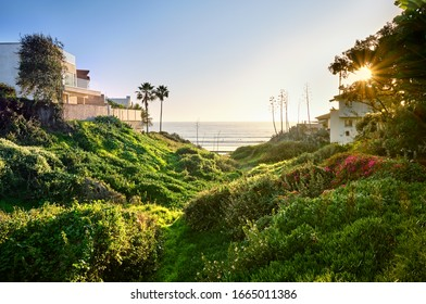 Narrow footpath to the steps down to Pacific Beach, California