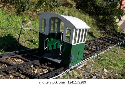 Narrow gauge funicular railway, Dubuque, Iowa.  This railway has been called the shortest, steepest scenic railway.