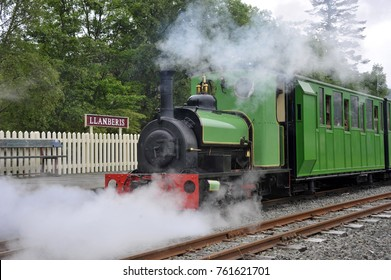 Narrow gauge locomotive Dolbadarn on the Llanberis Lake heritage railway, Snowdonia National Park, North Wales, UK. The engine is a Hunslet type built for  Dinorwic quarry.