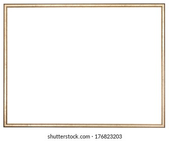 narrow golden wood picture frame with cut out canvas isolated on white background
