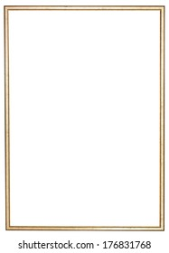 narrow golden wooden picture frame with cut out canvas isolated on white background