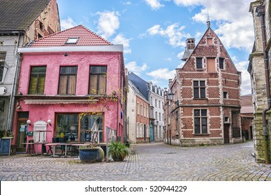 The narrow historic streets and medieval houses of the provincial city of Mechelen (Malines), Belgium.