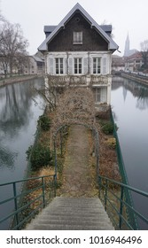 Narrow house on tiny island in Strasbourg