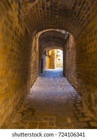 Narrow lanes in the beautiful city center of Volterra in Tuscany