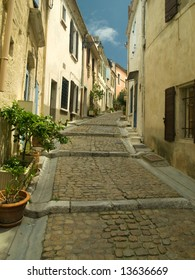 Narrow medieval street in French town