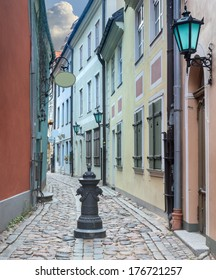 Narrow medieval street in old Riga, Latvia. In 2014, Riga is the European capital of culture
