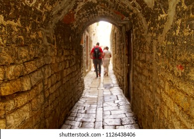 Narrow medieval street of Trogir, Croatia