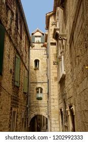 Narrow medieval street of Trogir, Croatia