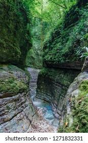 Narrow mountain river canyon, Abkhazia, Georgia