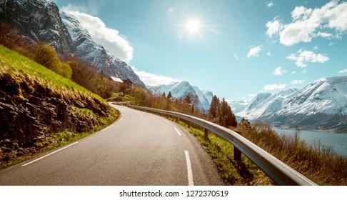 Narrow mountain road in Norway