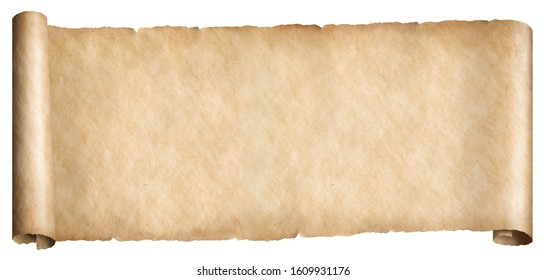Narrow old paper fantasy style horizontal scroll isolated