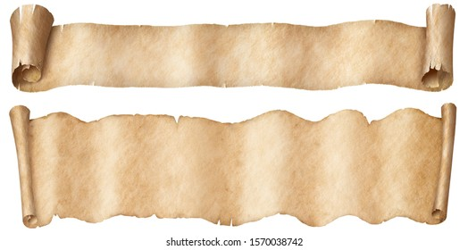 Narrow old papers fantasy style scroll banners set isolated on white
