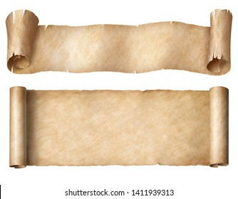 Narrow paper or parchment scrolls set isolated on white