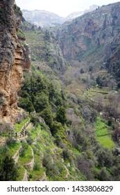 Narrow part of Quadisha valley in Lebanon
