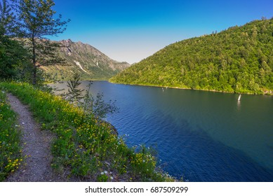 A narrow path along the shore of the lake. Beautiful blue lake. Birth of a Lake Trail. Mount St Helens National Park, South Cascades in Washington State, USA
