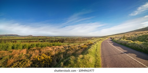 Narrow paved road with a white line facing the perspective of the Irish landscape. Ireland, county Cork.