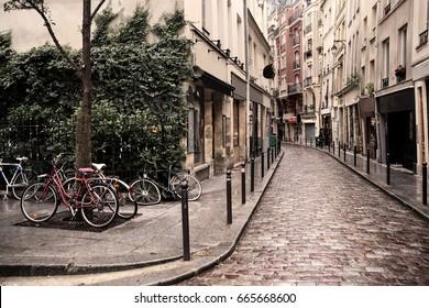 Narrow pedestrian street in latin quarter.