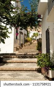 Narrow pueblo blanco streets of Salobrena, Andalusia, Spain