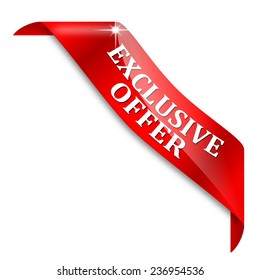 A narrow red corner with the sign exclusive offer - illustration