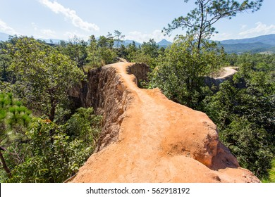 narrow red ridges with steep-sided valleys of Pai canyon, Mae Hong Son province, Thailand