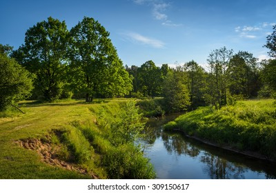 narrow river in summer day