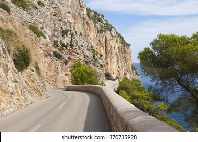 Narrow road along the rocks, Mallorca, Spain