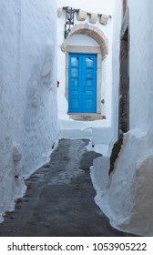 Narrow road in the medieval town of Chora in Patmos island