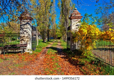 Narrow rural road covered with fallen autumnal runs through old rustic entrance gate in Piedmont, Northern Italy.