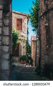 Narrow, shady street in the south of France near the Mediterranean Sea