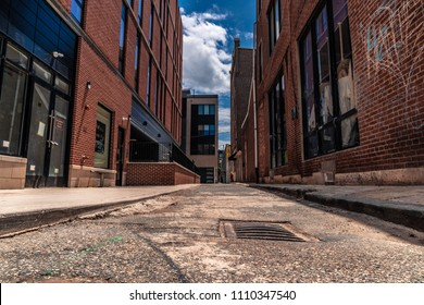 Narrow Side Street Alley with Heart Graffiti Old Brick with Modern Architecture Combined with Old in Philadelphia