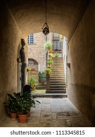 Narrow small streets in the old Etruscan city of Orvieto in Umbria, Italy