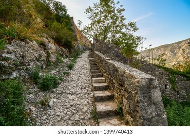 The narrow steps and steep path leading to the Kotor Castle overlooking the Bay of Kotor, in Kotor, Montenegro