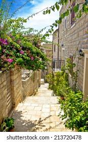 Narrow stone street in Hvar island, Dalmatia, Croatia