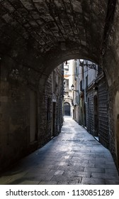 A narrow street in Barcelona