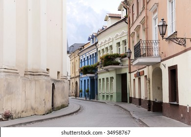 Narrow street and buildings in old town, Vilnius, Lithuania