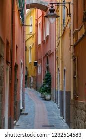 Narrow street in the centre of Manarola village, Cinque Terre land, Italy